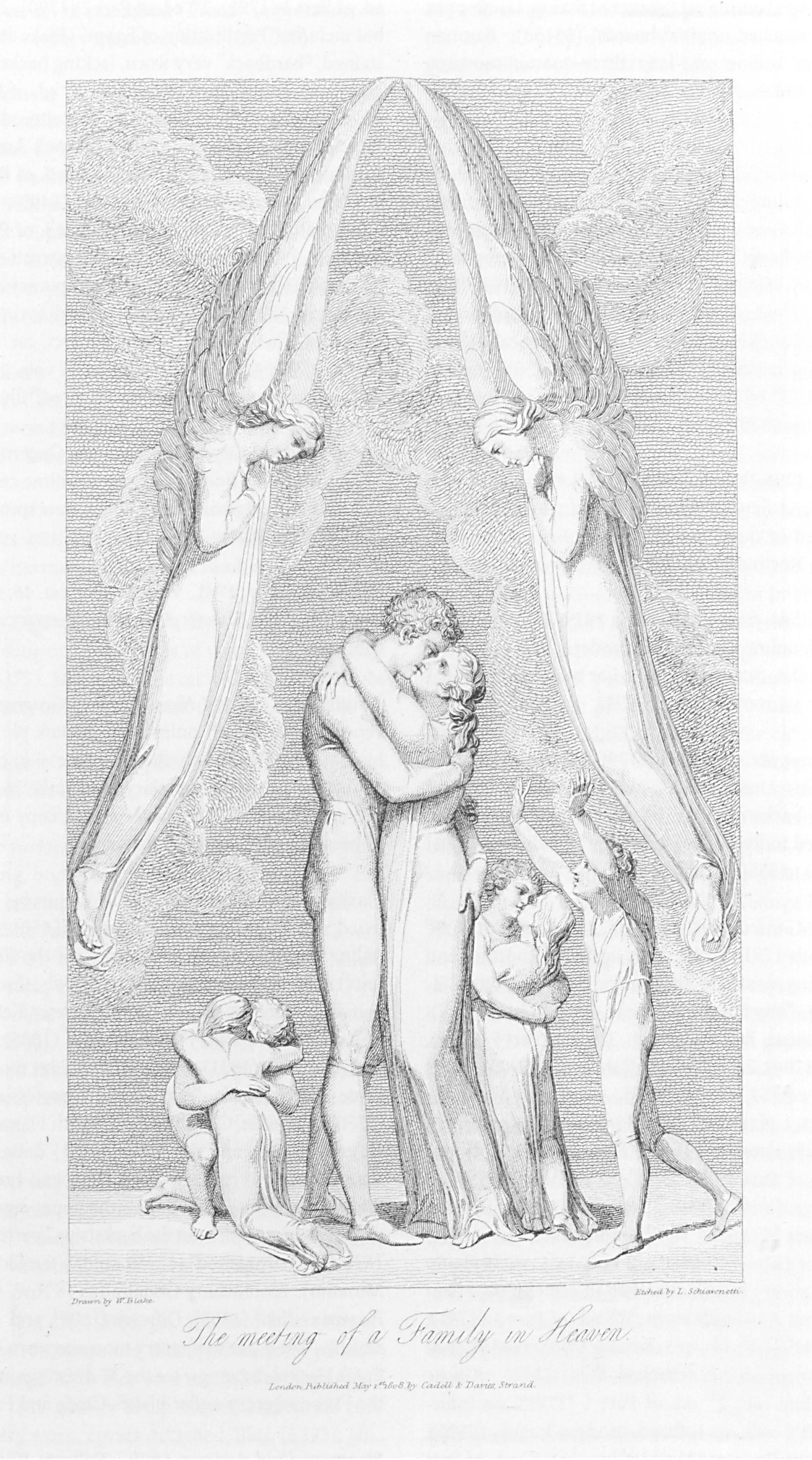 Drawn by W. Blake.                          Etched by L. Schiavonetti.                          The meeting of a Family in Heaven.                          London. Published May 1st. 1808, by Cadell & Davies, Strand.